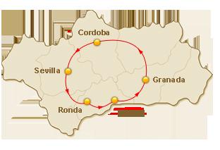 Rondreis route voor 1. Charmant Andalusië (promo nov-dec)