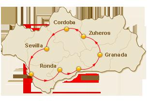 Rondreis route voor 8. Andalusische Droom
