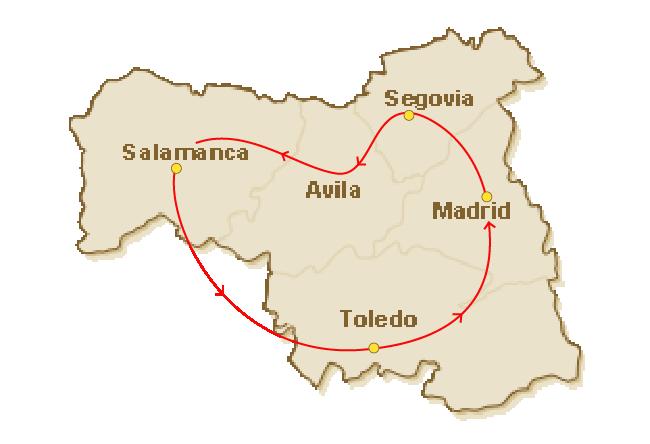 Rondreis route voor 1.Castilië het historisch hart rond Madrid