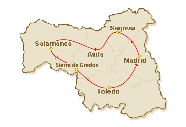 Rondreis route voor 2.Combinatie cultuur en natuur in Castilië